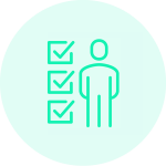 An icon showing a person stood next to three ticked checkboxes